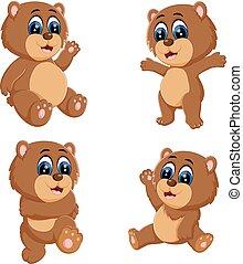 rigolote, différent, collection, poser, ours, bébé