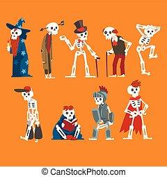rigolote, différent, humain, ensemble, situations, mort, squelettes, vecteur, illustration, caractères, dessin animé, homme