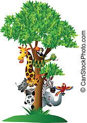 rigolote, divers, dessin animé, safari, animal