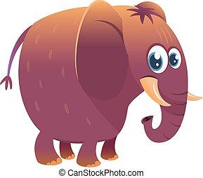 rigolote, elephant., vecteur, dessin animé, illustration
