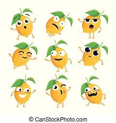 rigolote, emoticons, citron, -, isolé, vecteur, dessin animé