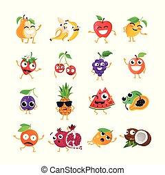 rigolote, emoticons, -, isolé, fruit, vecteur, dessin animé