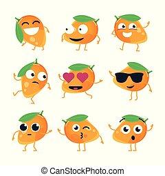 rigolote, emoticons, -, isolé, mangue, vecteur, dessin animé