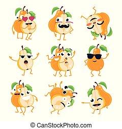 rigolote, emoticons, -, isolé, poires, vecteur, dessin animé