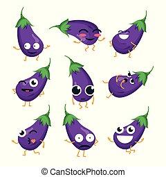 rigolote, emoticons, -, isolé, vecteur, aubergine, dessin animé