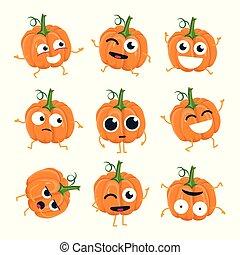 rigolote, emoticons, -, isolé, vecteur, dessin animé, citrouille