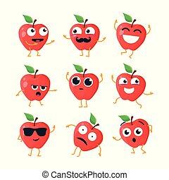 rigolote, emoticons, -, isolé, vecteur, pommes, dessin animé