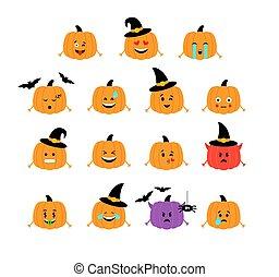 rigolote, emoticons., isolated., halloween, vecteur, pumpkins.