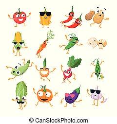 rigolote, emoticons, légumes, -, isolé, vecteur, dessin animé