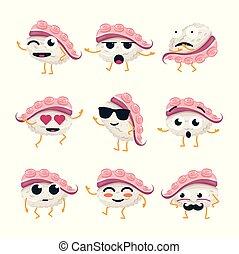 rigolote, emoticons, sushi, -, isolé, vecteur, dessin animé