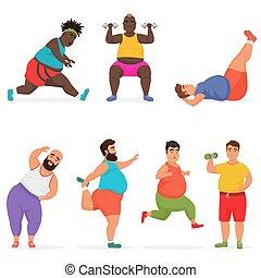 rigolote, ensemble, caractères, gymnase, graisse, vecteur, fitness., exercises., potelé, sport, séance entraînement, homme