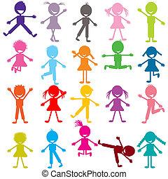 rigolote, ensemble, jouer, coloré, enfants