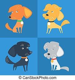 rigolote, ensemble, race, chien, ou, vecteur, mélangé, métis