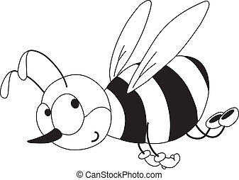 rigolote, esquissé, abeille