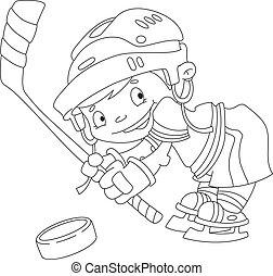 rigolote, esquissé, hockey, garçon