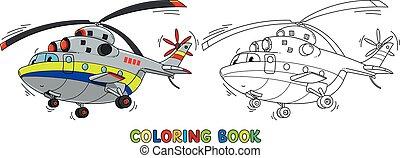 rigolote, eyes., coloration, hélicoptère, cargaison, livre