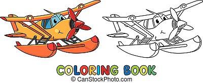 rigolote, eyes., coloration, hydravion, livre, avion