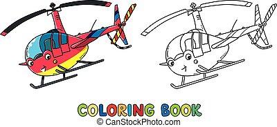 rigolote, eyes., petit, coloration, hélicoptère, livre