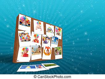 rigolote, famille, photos, mur, collage, bois
