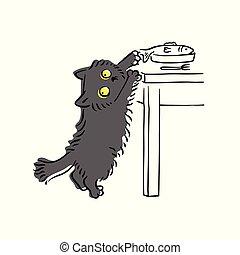 rigolote, fermé, autour de, fish, chat gris, regarder, voler, table