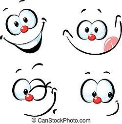rigolote, -, figure, vecteur, sourire, dessin animé
