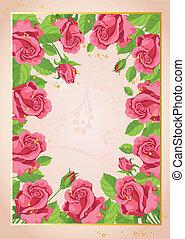 rigolote, fond, roses