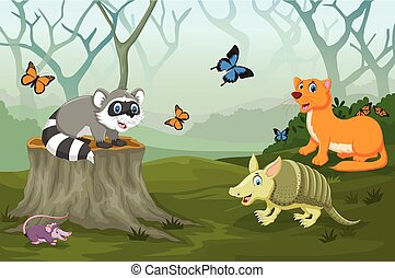rigolote, forêt, profond, animal