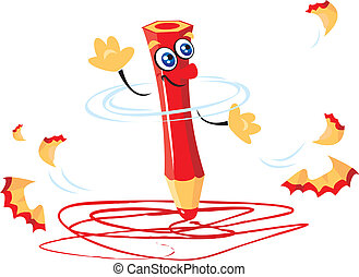 rigolote, fou, crayon, charrette, écriture, rouges