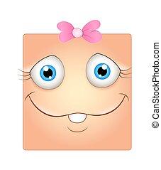 rigolote, girl, visage smiley