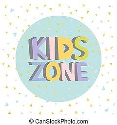 rigolote, gosses, zone, illustration, letters., vecteur, signe, coloré