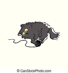 rigolote, gris, fil, jouer, dessin animé, chat, dessin