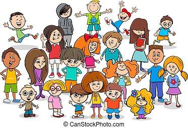 rigolote, groupe, enfants, caractères, dessin animé