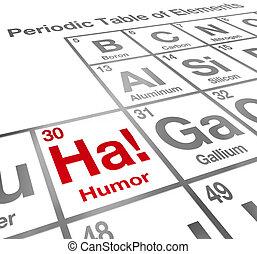 rigolote, ha, humour, élément, table périodique, comédie, rire