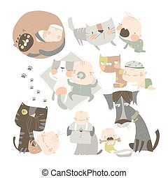 rigolote, heureux, dessin animé, animaux familiers, sien, bébé