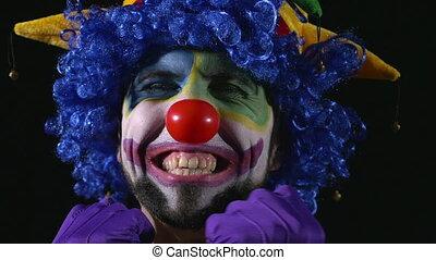 rigolote, hilare, jeune, clown, faces, confection