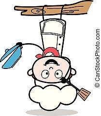 rigolote, illustration, chef cuistot, vecteur, dessus, pendre, dessin animé, bas