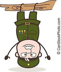 rigolote, illustration, envers, vecteur, sergent, pendre, dessin animé