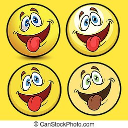 rigolote, langue, smiley, dehors
