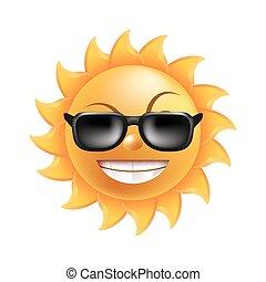 rigolote, lunettes soleil, soleil, isolé, illustration, figure