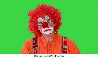 rigolote, malheureux, chroma, key., clown, sien, écran, marche, manière, figure, vert, expression