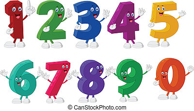 rigolote, nombres, caractères, dessin animé