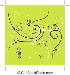 rigolote, oiseaux, conception, fond, vert, ton