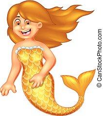 rigolote, onduler, poser, sourire, dessin animé, sirène
