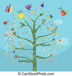 rigolote, papillons, gosses, arbre, carte