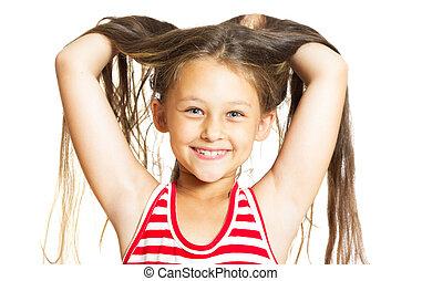rigolote, peu, elle, gai, haut, cheveux, girl, jets