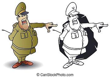 rigolote, peu, fâché, pointing., général, men.