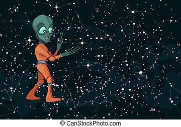 rigolote, positif, image, caractère, dessin animé, étranger, vecteur, starfield, créature