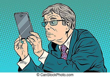 rigolote, prendre, smartphone, homme, images