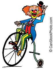 rigolote, promenades, clown, bicycle.