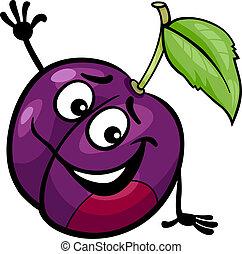 rigolote, prune, fruit, dessin animé, illustration